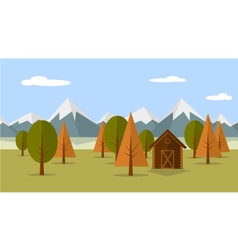 Mountain view with cabin vector image