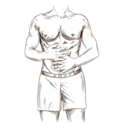 Muscular man suffering from stomach ache vector