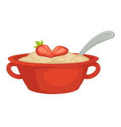 oatmeal with strawberry in bowl with handles and vector image