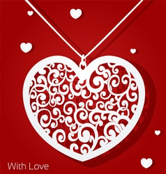 Openwork heart applique paper on red background vector