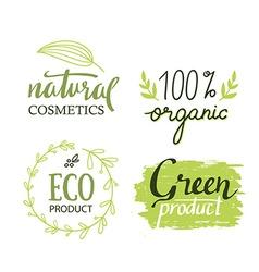 Organicbioecology natural labels set Green logo vector image vector image