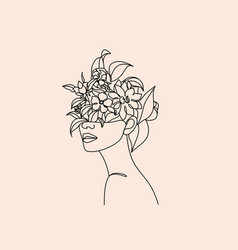 Plant head woman art print woman with plants vector