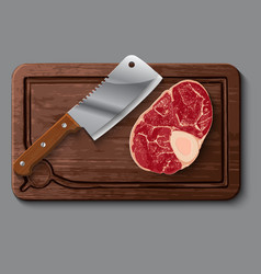 Realistic wooden cutting board meat and knife vector
