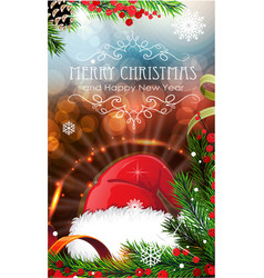 red santa hat with sparkles and fir branches vector image