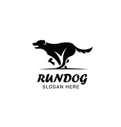 Running dog logo template isolated on white vector