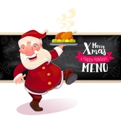 Santa holding dish with turkey vector
