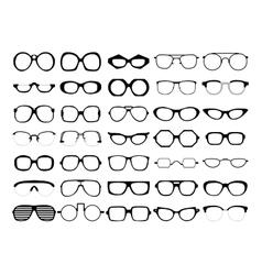 set glasses retro wayfarer geek vector image