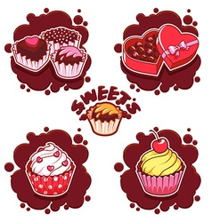 Set of sweet chocolate emblems vector