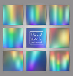 set of trendy holographic backgrounds for cover vector image
