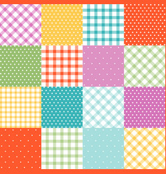 set plaid dots easter seamless patterns vector image