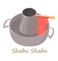 Shabu shabu icon cartoon style vector