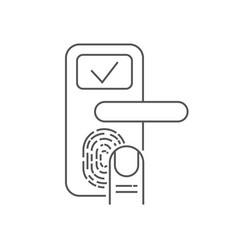 smart door lock with finger scanner on white vector image