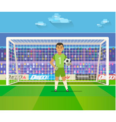soccer goalkeeper keeping goal on arena vector image
