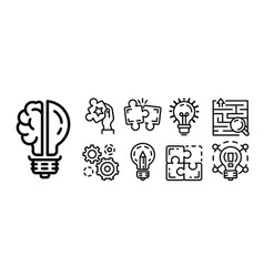 Solution icon set outline style vector