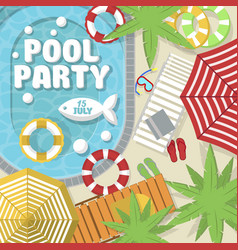 summer pool party invitation layout vector image