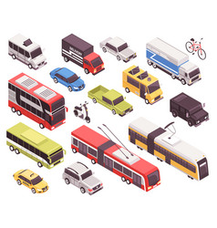 transport isometric set vector image