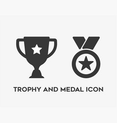 Trophy and medal icon on white background vector