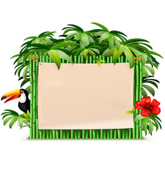 tropical green bamboo frame vector image