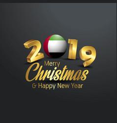 Uae flag 2019 merry christmas typography new year vector