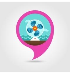 Ventilator pin map icon Summer Vacation vector image