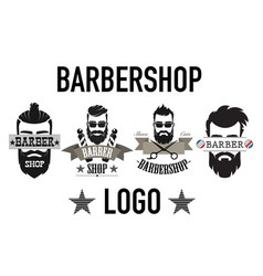 vintage retro barbershop logo label emblem and vector image