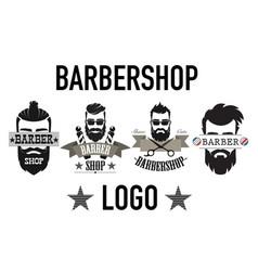 vintage retro barbershop logo label emblem vector image