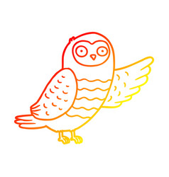 Warm gradient line drawing cartoon owl pointing vector