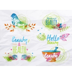 Watercolor symbols beauty vector image