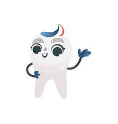 white healthy tooth with tricolored toothpaste vector image