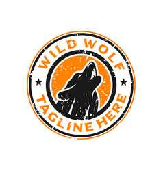 wolf stamp circle logo design template vector image