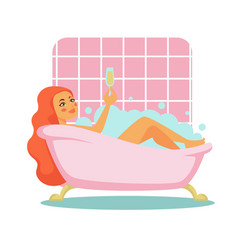 woman taking bath with champagne glass bathroom vector image