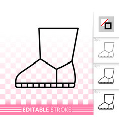 Women boot simple black line icon vector