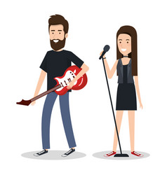 Young woman singer and man guitar player vector