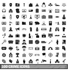 100 crime icons set simple style vector image vector image