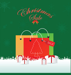 christmas shopping bag with gifts vector image vector image
