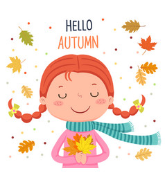 girl holding autumn leaves hello autumn vector image vector image