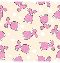 Seamless pattern with doodle pink dresses vector image vector image
