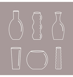Vase outline icon set Ceramic Pottery Glass vector image