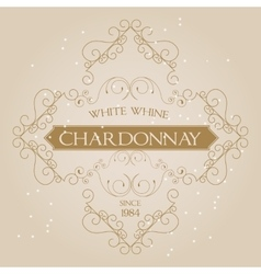 Vintage Ornament White Wine Label template vector image