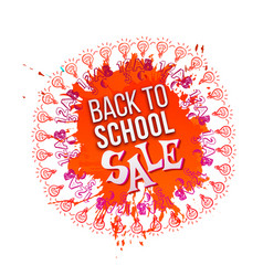 back to school sale on orange splash vector image vector image