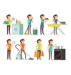 cartoon housewife in housework activity set vector image