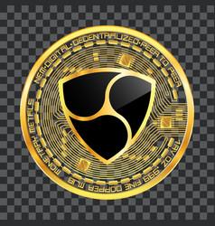 crypto currency nem golden symbol vector image vector image