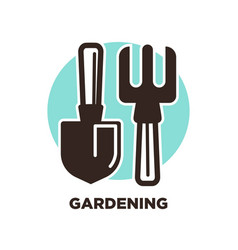 gardening instruments spade and pitchfork isolated vector image