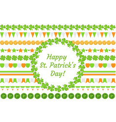 St patrick s day border garland with clover vector