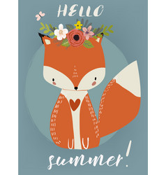 summer cute fox vector image vector image