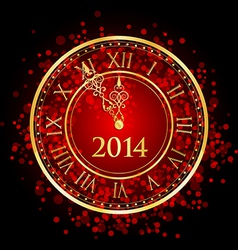 2014 new year gold clock vector image