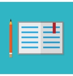 Flat style pencil and opened book vector image