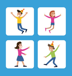 people funny party karaoke dance vector image