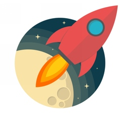 Rocket and the moon vector image vector image