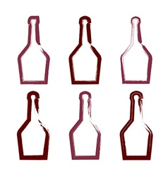 Set of hand-drawn simple empty bottle of rum vector image vector image